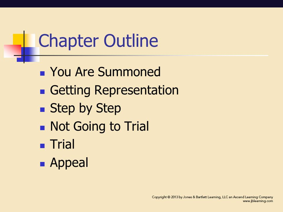 Chapter Outline You Are Summoned Getting Representation Step by Step Not Going to Trial Trial Appeal