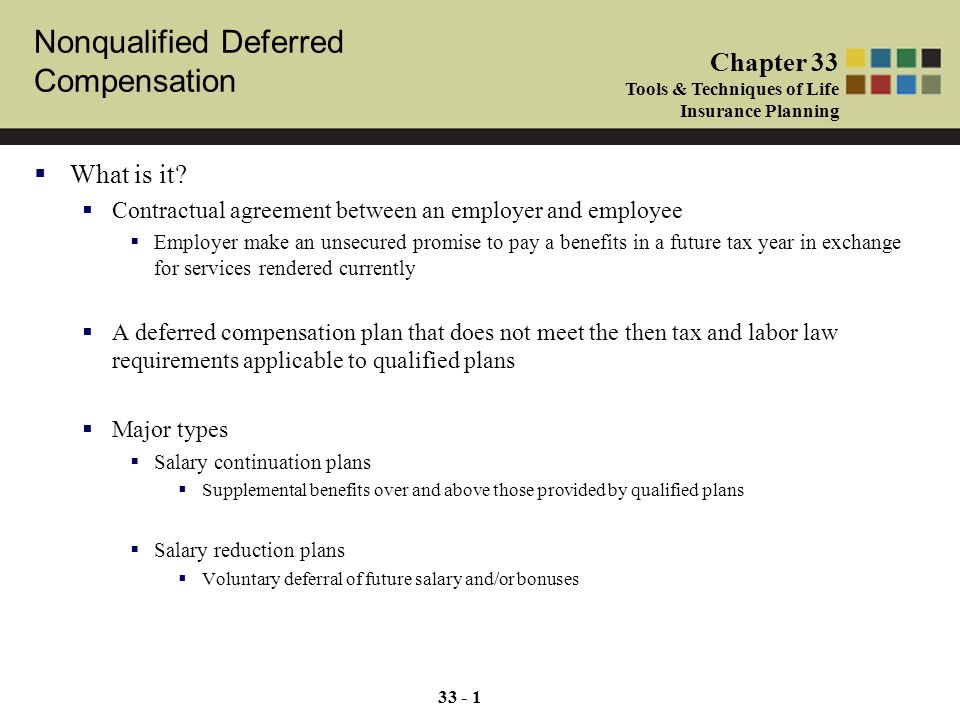 Nonqualified Deferred Compensation Chapter 33 Tools Techniques Of