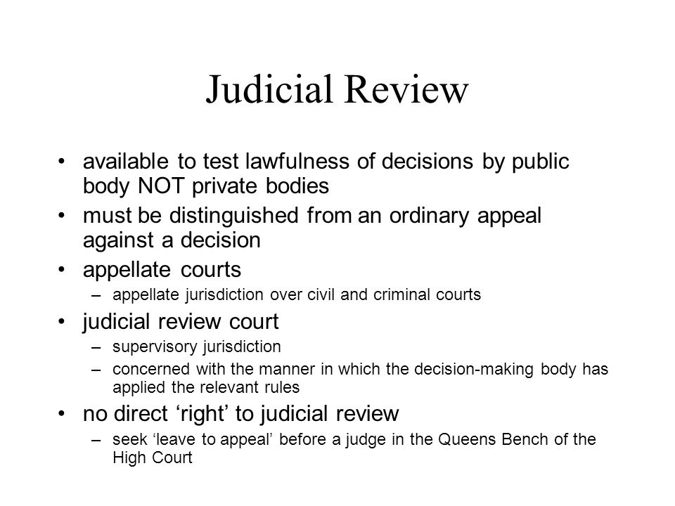 Judicial Review Judicial review –means by which courts
