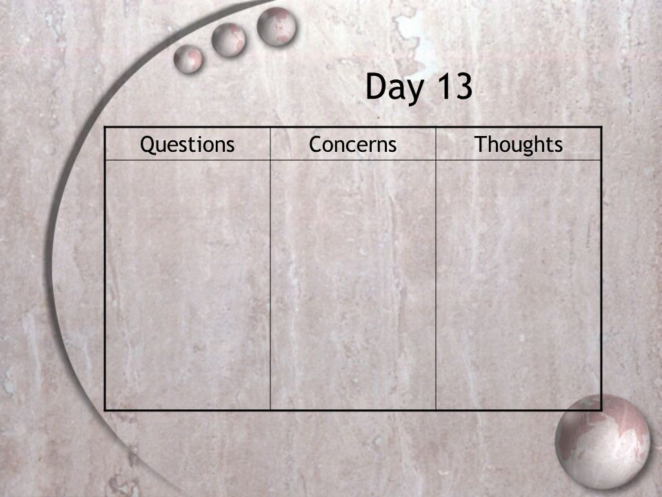 Day 13 QuestionsConcernsThoughts