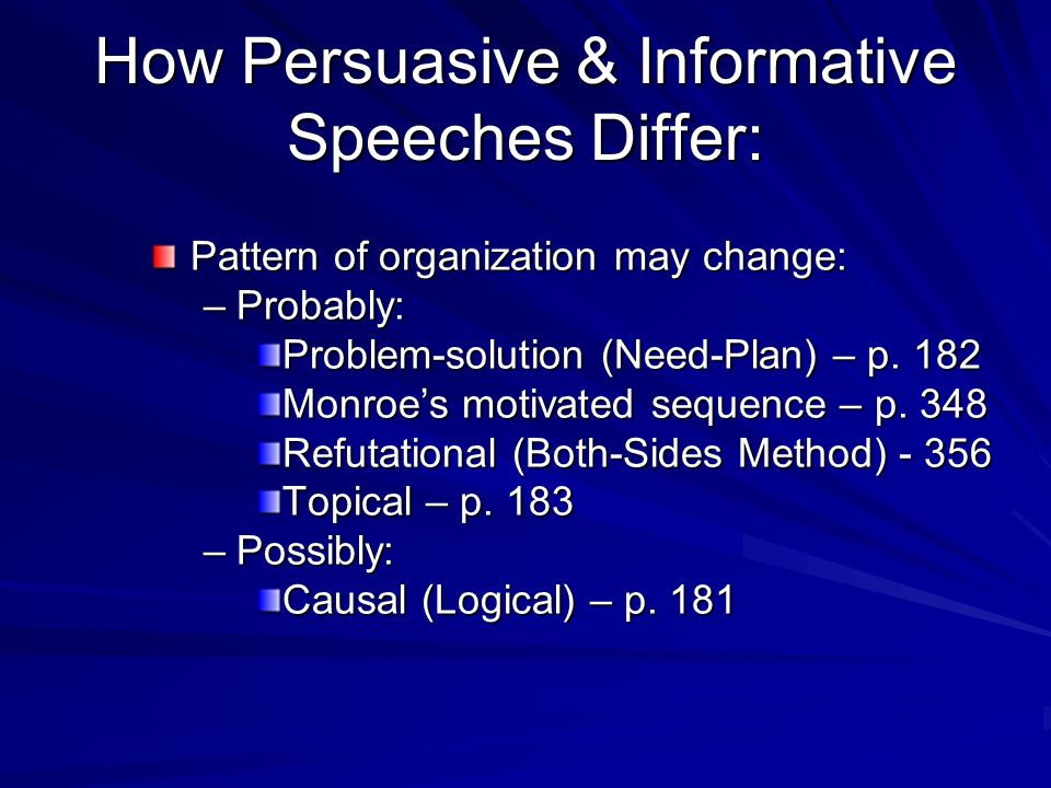How Persuasive & Informative Speeches Differ: Pattern of organization may change: –Probably: Problem-solution (Need-Plan) – p.