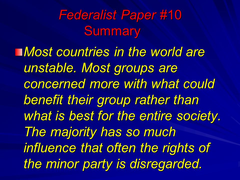 The Federalist Papers Most Countries In The World Are