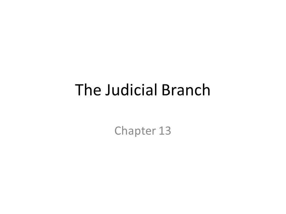 The Judicial Branch Chapter 13