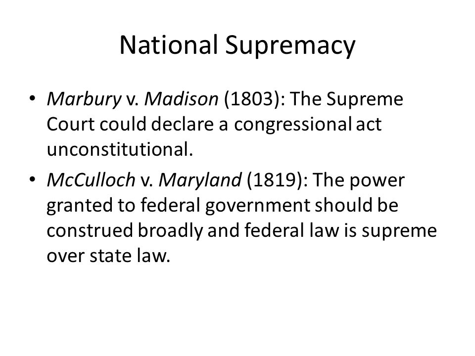 National Supremacy Marbury v.