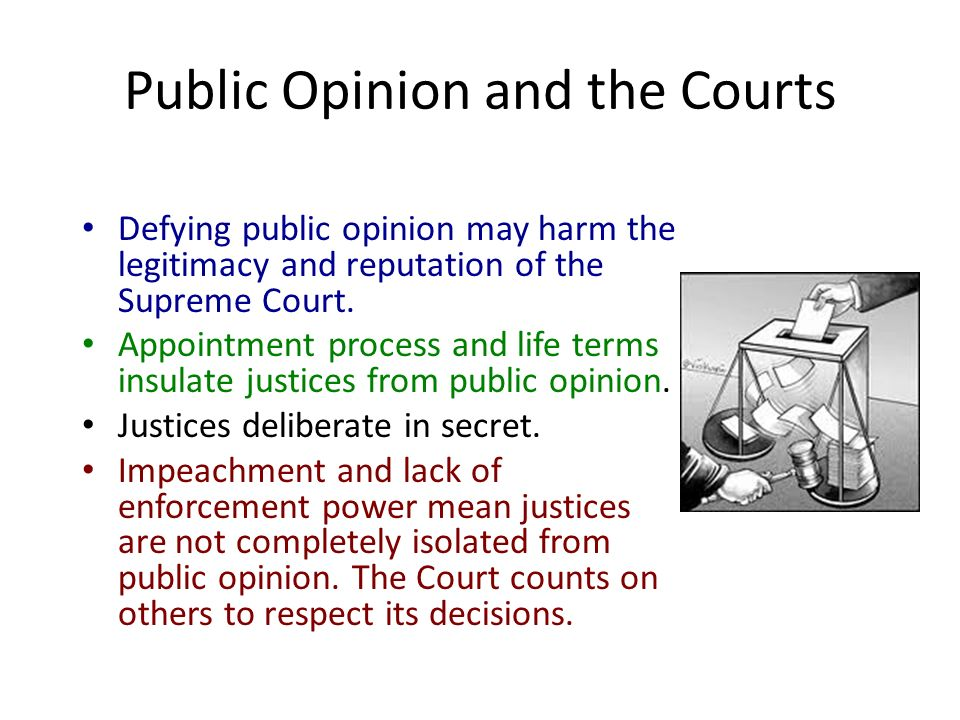 Public Opinion and the Courts Defying public opinion may harm the legitimacy and reputation of the Supreme Court.