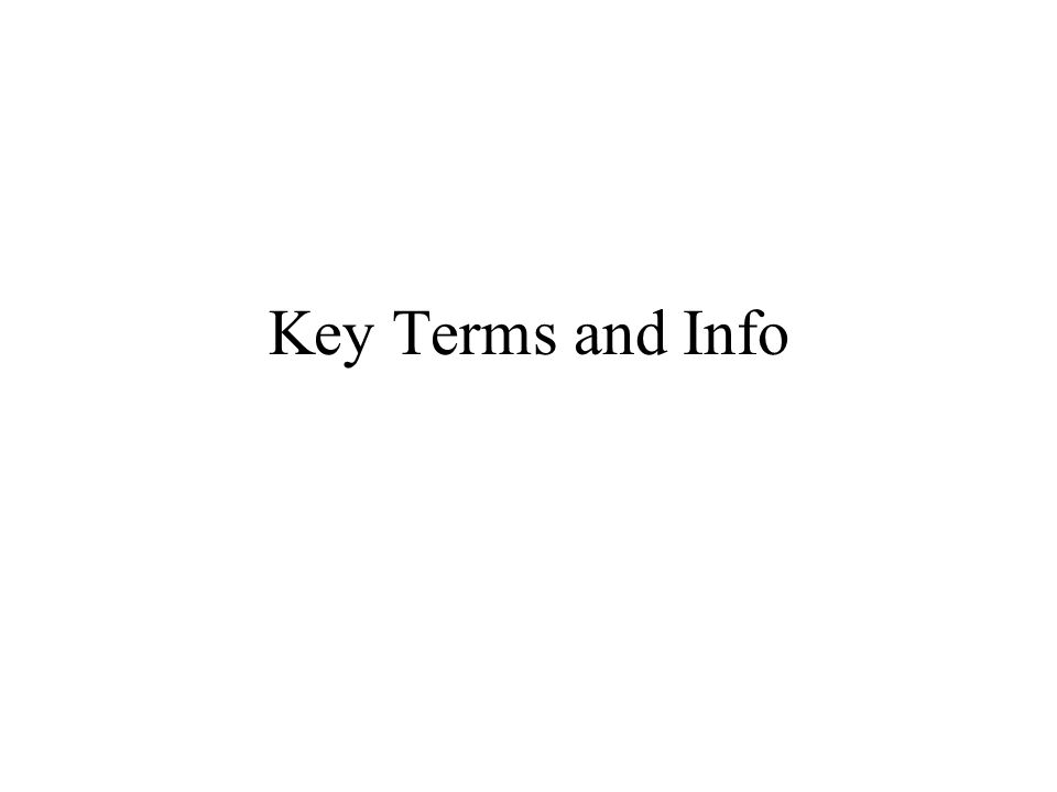 Key Terms and Info
