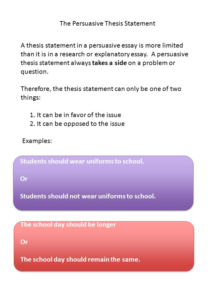 respond to prompts brainstorm construct outline thesis   the persuasive thesis statement