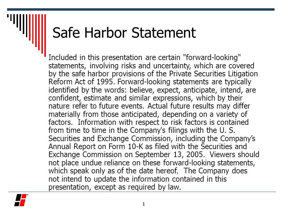 December 1, 2005 Standex International  Safe Harbor