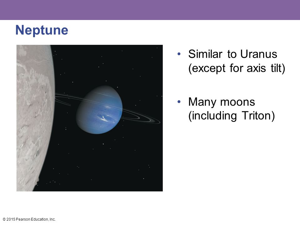 Neptune Similar to Uranus (except for axis tilt) Many moons (including Triton) © 2015 Pearson Education, Inc.