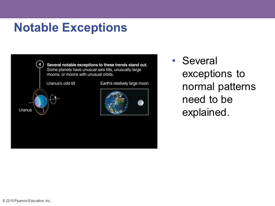 Notable Exceptions Several exceptions to normal patterns need to be explained.