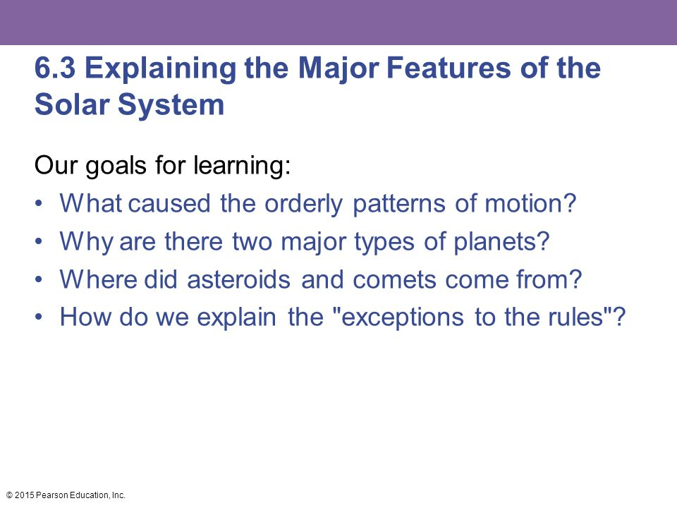 6.3 Explaining the Major Features of the Solar System Our goals for learning: What caused the orderly patterns of motion.