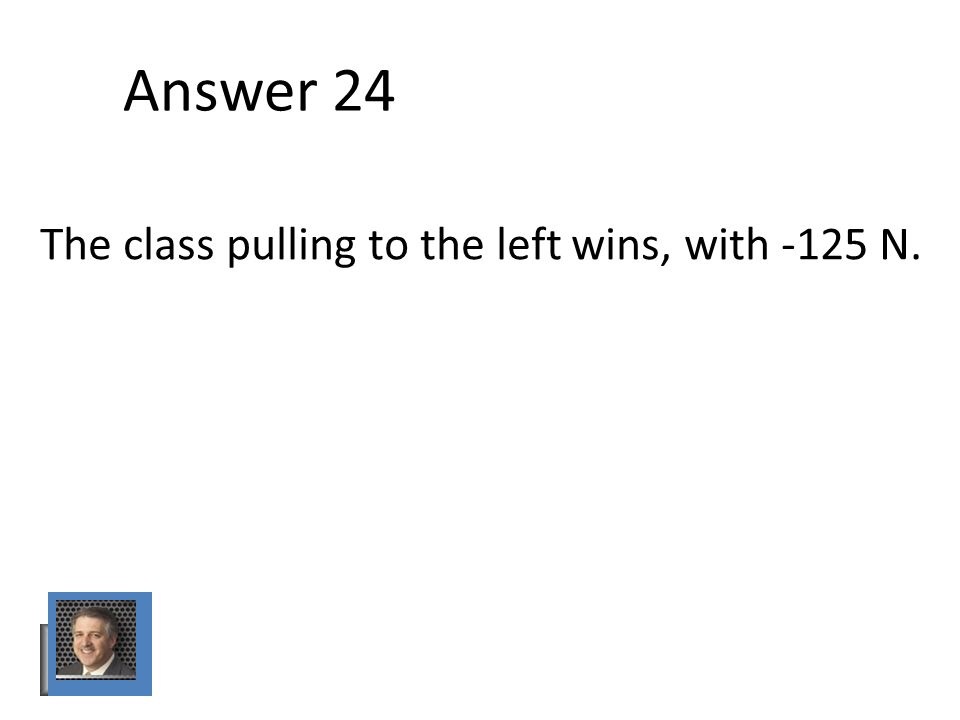 Answer 24 The class pulling to the left wins, with -125 N.