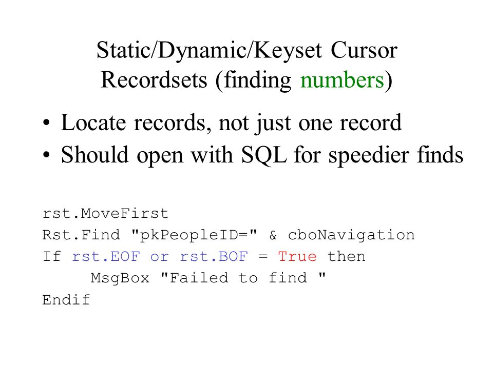 ADO Recordsets  Recordset Objects Similar to Tables and