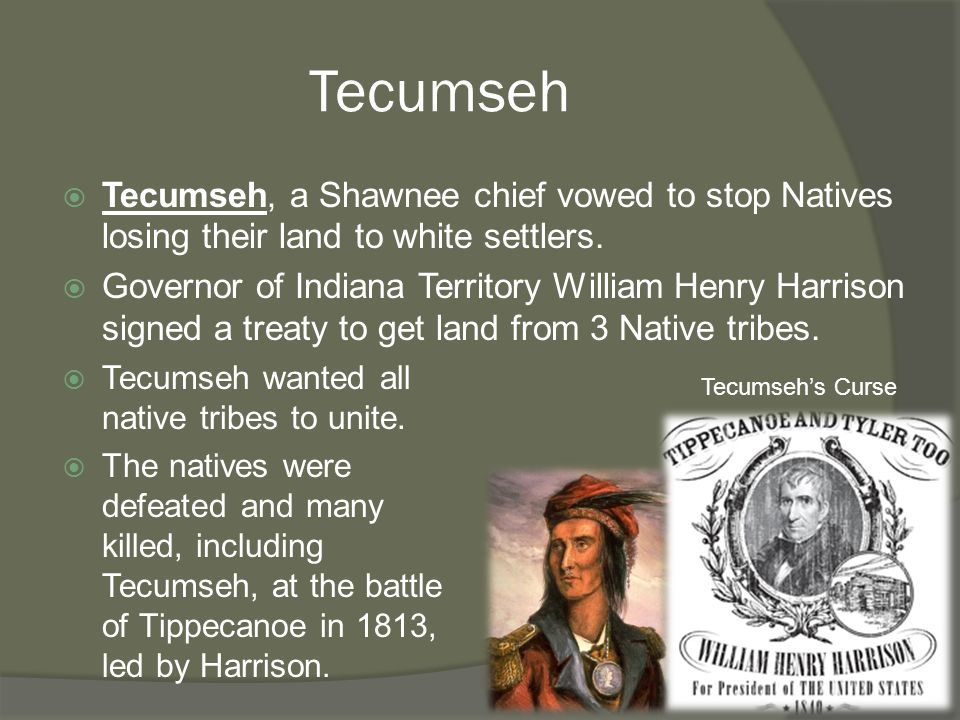 Tecumseh  Tecumseh, a Shawnee chief vowed to stop Natives losing their land to white settlers.