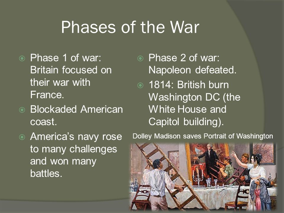 Phases of the War  Phase 1 of war: Britain focused on their war with France.