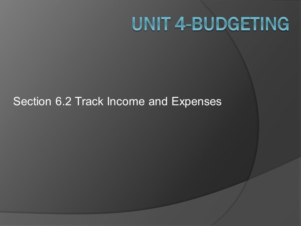 Section 6.2 Track Income and Expenses