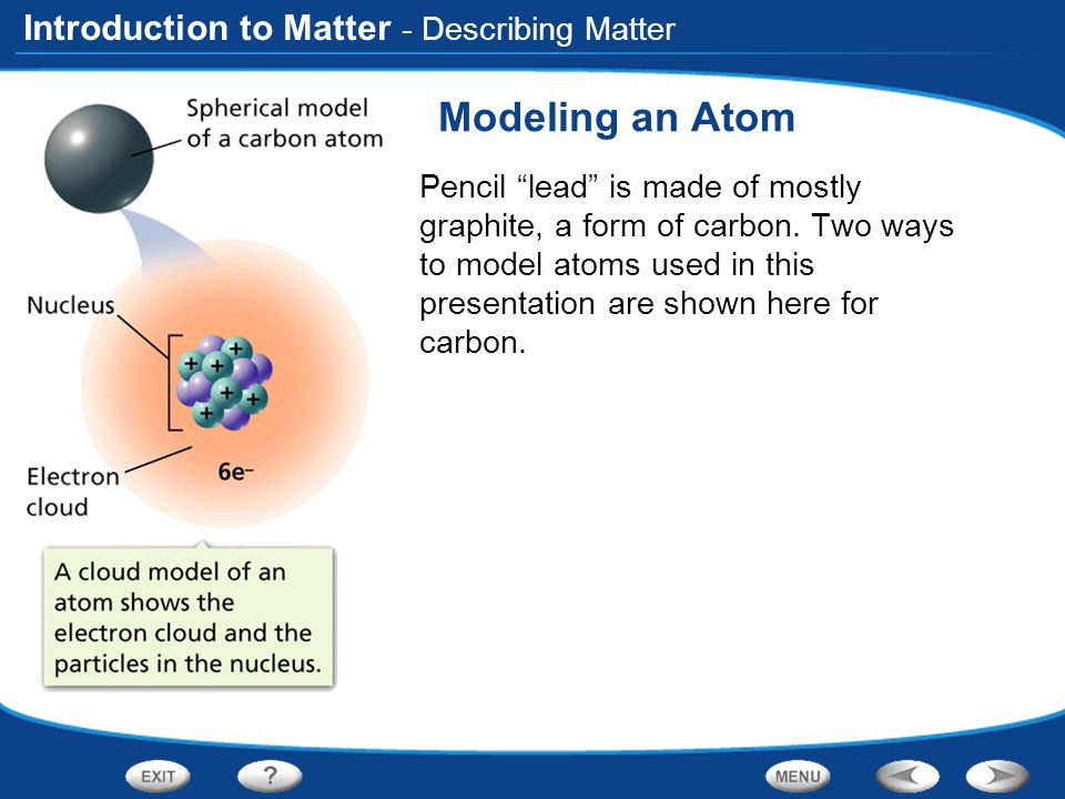 introduction to matter modeling an atom pencil lead is made of mostly graphite a form