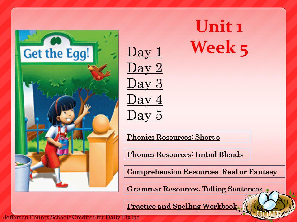 HOME Unit 1 Week 5 Phonics Resources Short E Comprehension