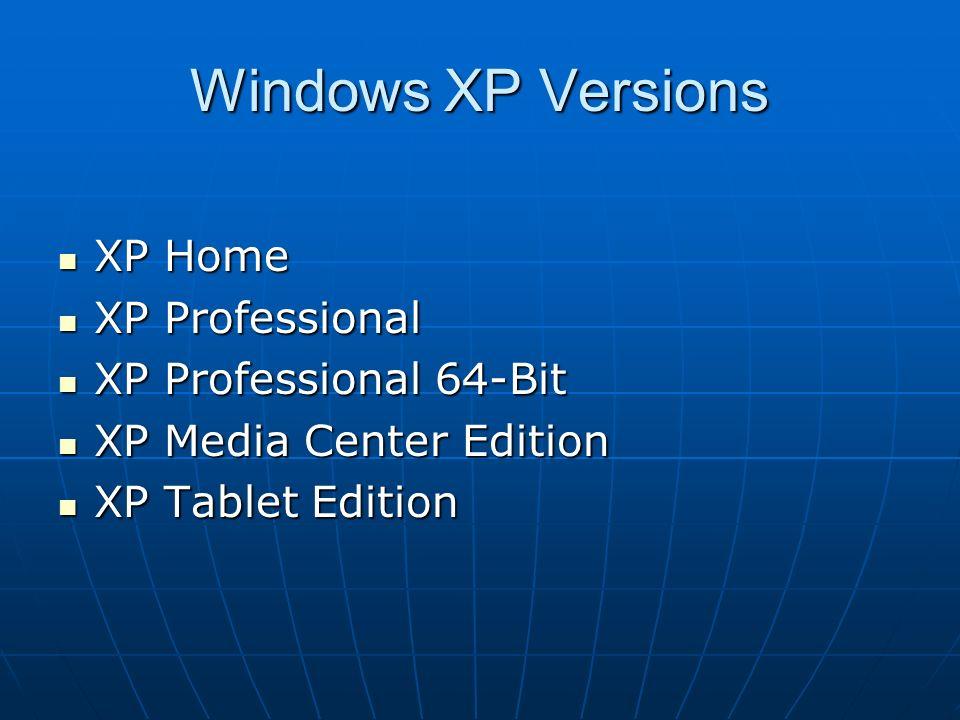 Chapter 7 Microsoft Windows XP  Windows XP Versions XP Home