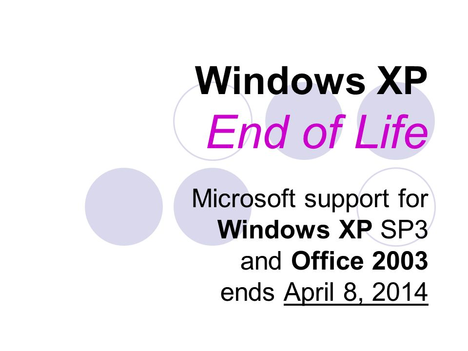 Windows XP End of Life Microsoft support for Windows XP SP3