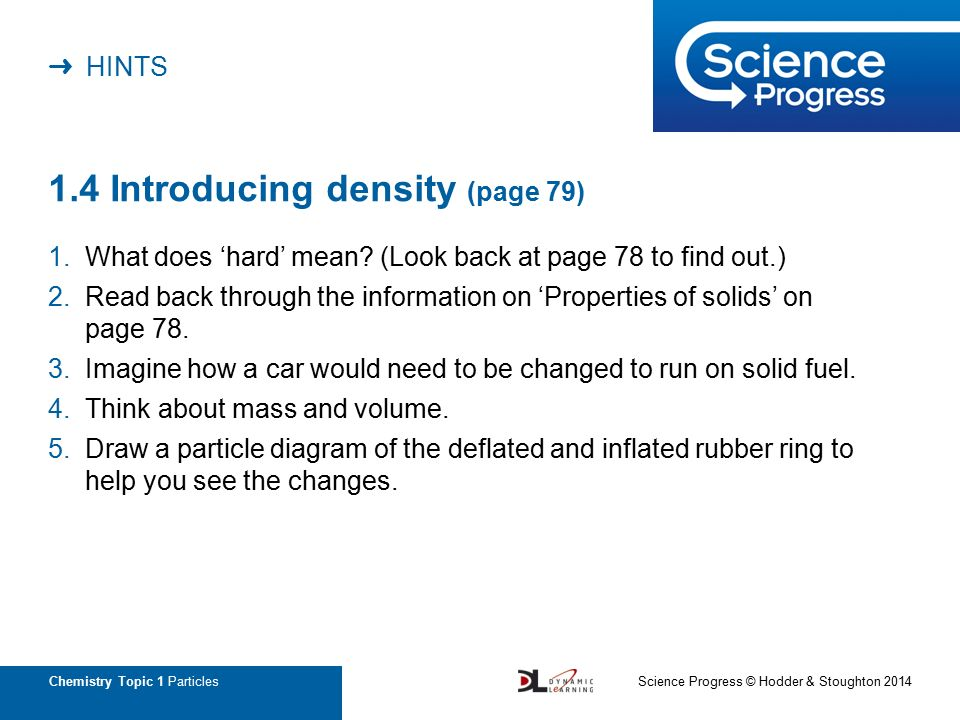 Hints Chemistry Topic 1 Particles 11 Particle Model Page 73 1
