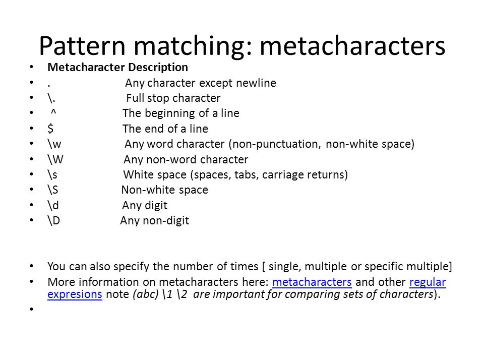 Pattern matching: metacharacters Metacharacter Description.