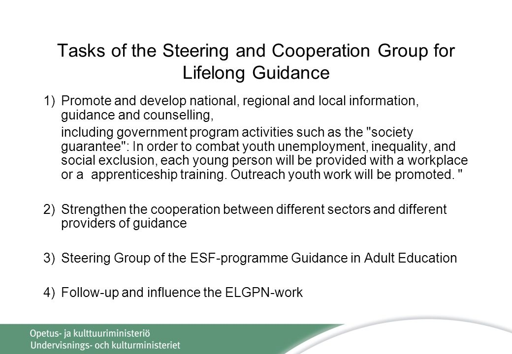 Tasks of the Steering and Cooperation Group for Lifelong Guidance 1)Promote and develop national, regional and local information, guidance and counselling, including government program activities such as the society guarantee : In order to combat youth unemployment, inequality, and social exclusion, each young person will be provided with a workplace or a apprenticeship training.