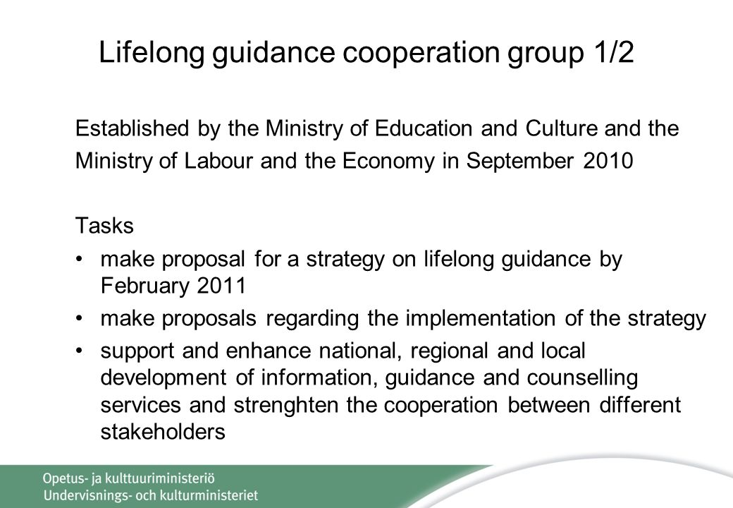 Lifelong guidance cooperation group 1/2 Established by the Ministry of Education and Culture and the Ministry of Labour and the Economy in September 2010 Tasks make proposal for a strategy on lifelong guidance by February 2011 make proposals regarding the implementation of the strategy support and enhance national, regional and local development of information, guidance and counselling services and strenghten the cooperation between different stakeholders