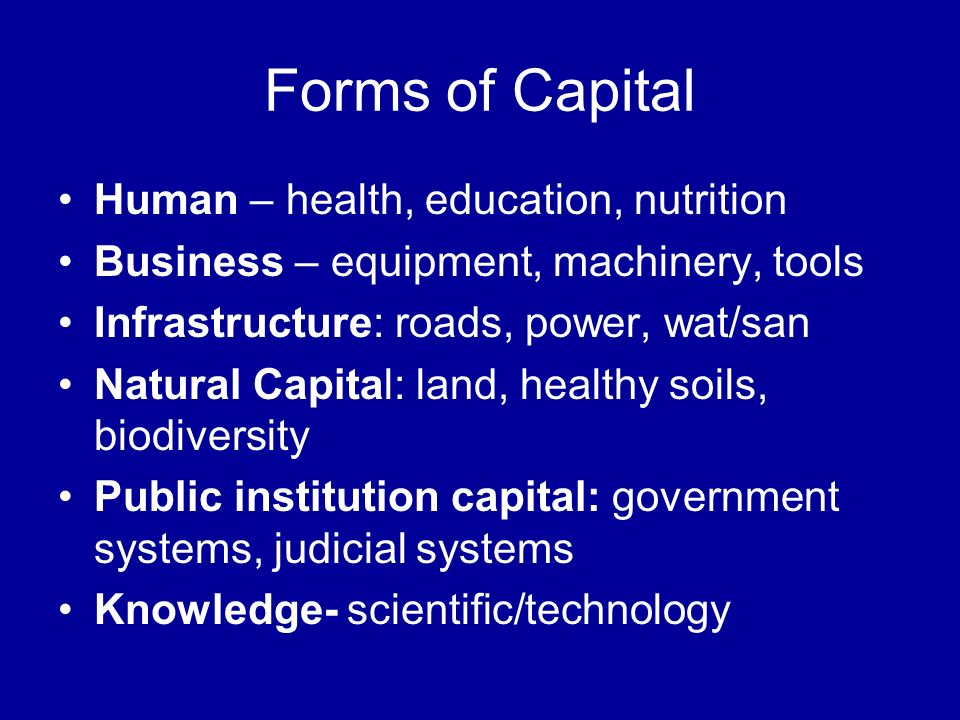 Forms of Capital Human – health, education, nutrition Business – equipment, machinery, tools Infrastructure: roads, power, wat/san Natural Capital: land, healthy soils, biodiversity Public institution capital: government systems, judicial systems Knowledge- scientific/technology