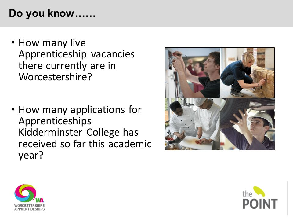Do you know…… How many live Apprenticeship vacancies there currently are in Worcestershire.