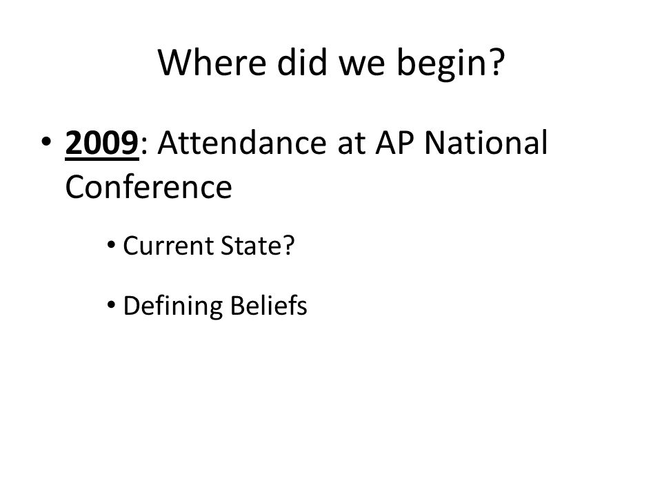 Where did we begin 2009: Attendance at AP National Conference Current State Defining Beliefs