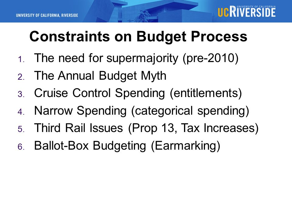 Constraints on Budget Process 1. The need for supermajority (pre-2010) 2.