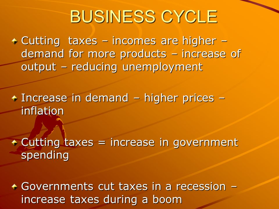 BUSINESS CYCLE Cutting taxes – incomes are higher – demand for more products – increase of output – reducing unemployment Increase in demand – higher prices – inflation Cutting taxes = increase in government spending Governments cut taxes in a recession – increase taxes during a boom