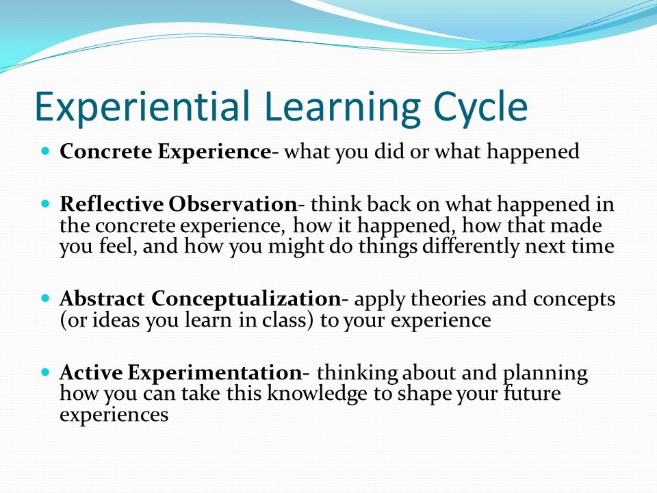 Experiential Learning Cycle Concrete Experience- what you did or what happened Reflective Observation- think back on what happened in the concrete experience, how it happened, how that made you feel, and how you might do things differently next time Abstract Conceptualization- apply theories and concepts (or ideas you learn in class) to your experience Active Experimentation- thinking about and planning how you can take this knowledge to shape your future experiences