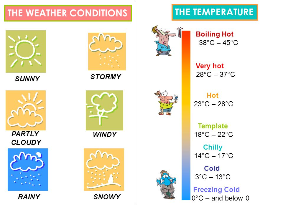 THE WEATHER CONDITIONS SUNNY PARTLY CLOUDY RAINY STORMY WINDY SNOWY Boiling Hot 38°C – 45°C Very hot 28°C – 37°C Hot 23°C – 28°C Template 18°C – 22°C Chilly 14°C – 17°C Cold 3°C – 13°C Freezing Cold 0°C – and below 0 THE TEMPERATURE