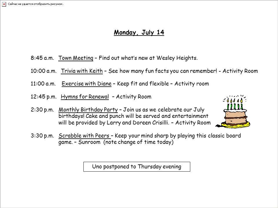 Wesley Heights Weekly Activities July This Week's Highlights