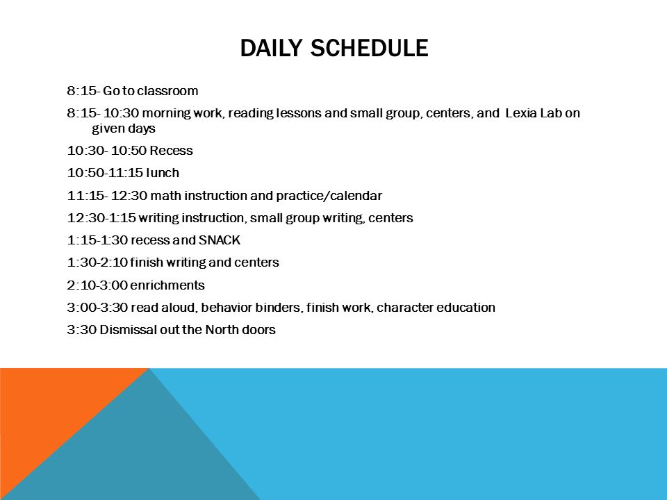 Welcome To First Grade Daily Schedule 815 Go To Classroom 815