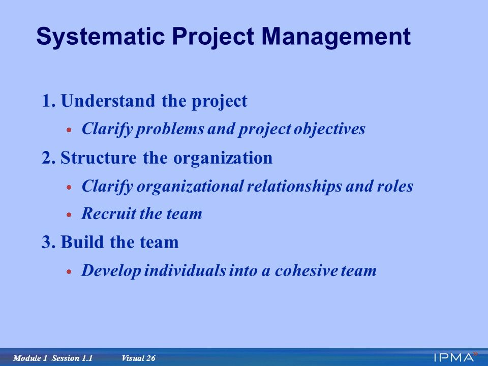 Module 1 Session 1.1 Visual 26 Systematic Project Management 1.