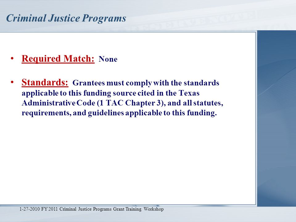 Please Complete the Pre-Workshop Survey FY 2011 Criminal