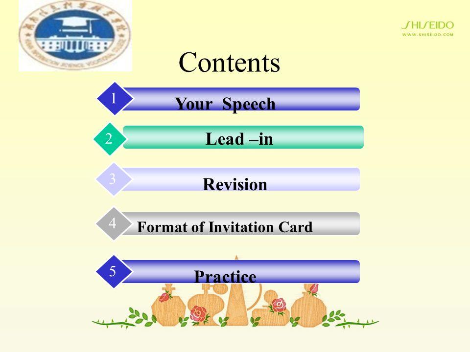 Invitation Card Invitation Card Contents Your Speech 1 Lead
