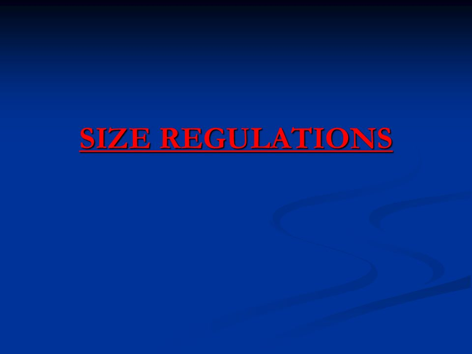 SIZE REGULATIONS