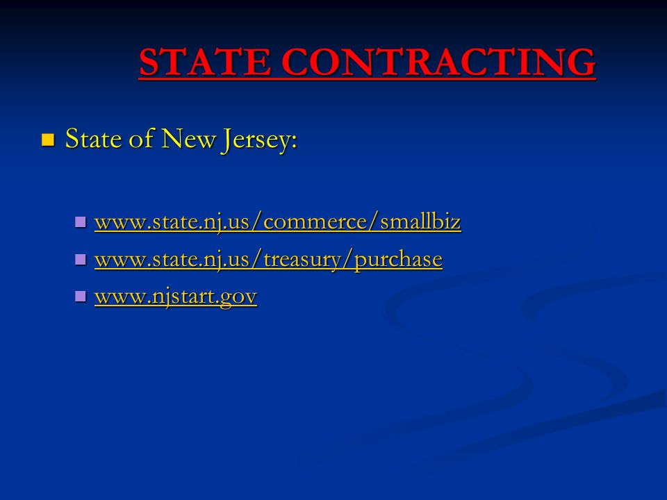 STATE CONTRACTING State of New Jersey: State of New Jersey: