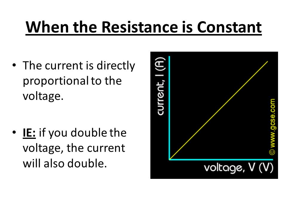 When the Resistance is Constant The current is directly proportional to the voltage.