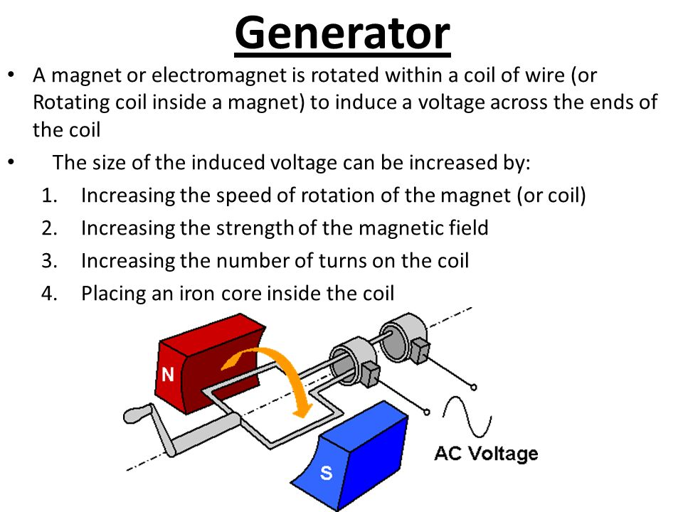 Generator A magnet or electromagnet is rotated within a coil of wire (or Rotating coil inside a magnet) to induce a voltage across the ends of the coil The size of the induced voltage can be increased by: 1.Increasing the speed of rotation of the magnet (or coil) 2.Increasing the strength of the magnetic field 3.Increasing the number of turns on the coil 4.Placing an iron core inside the coil