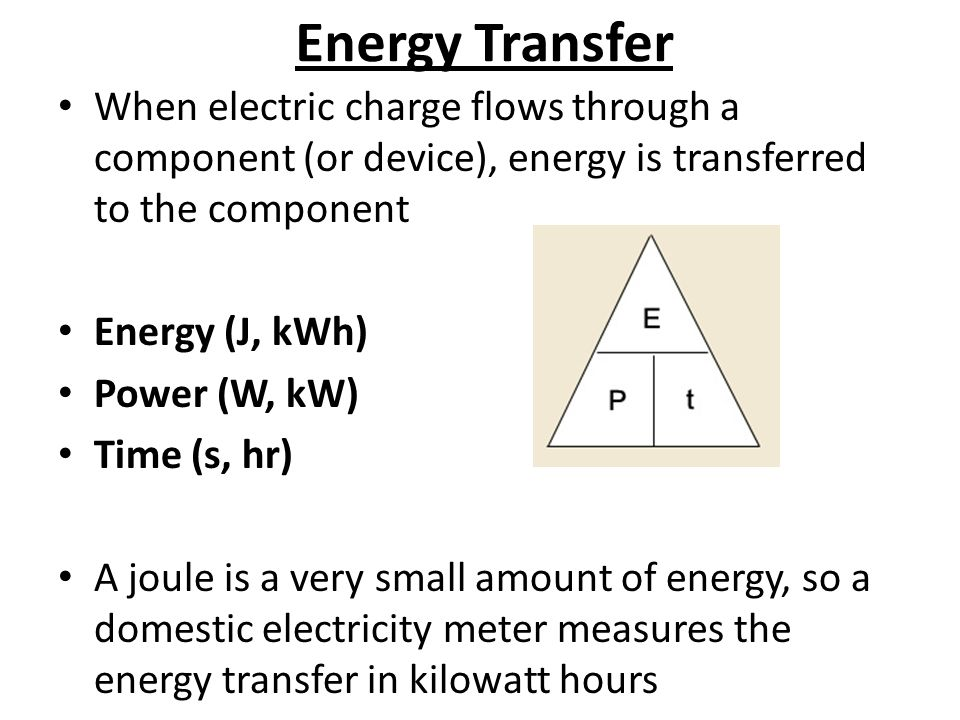 Energy Transfer When electric charge flows through a component (or device), energy is transferred to the component Energy (J, kWh) Power (W, kW) Time (s, hr) A joule is a very small amount of energy, so a domestic electricity meter measures the energy transfer in kilowatt hours