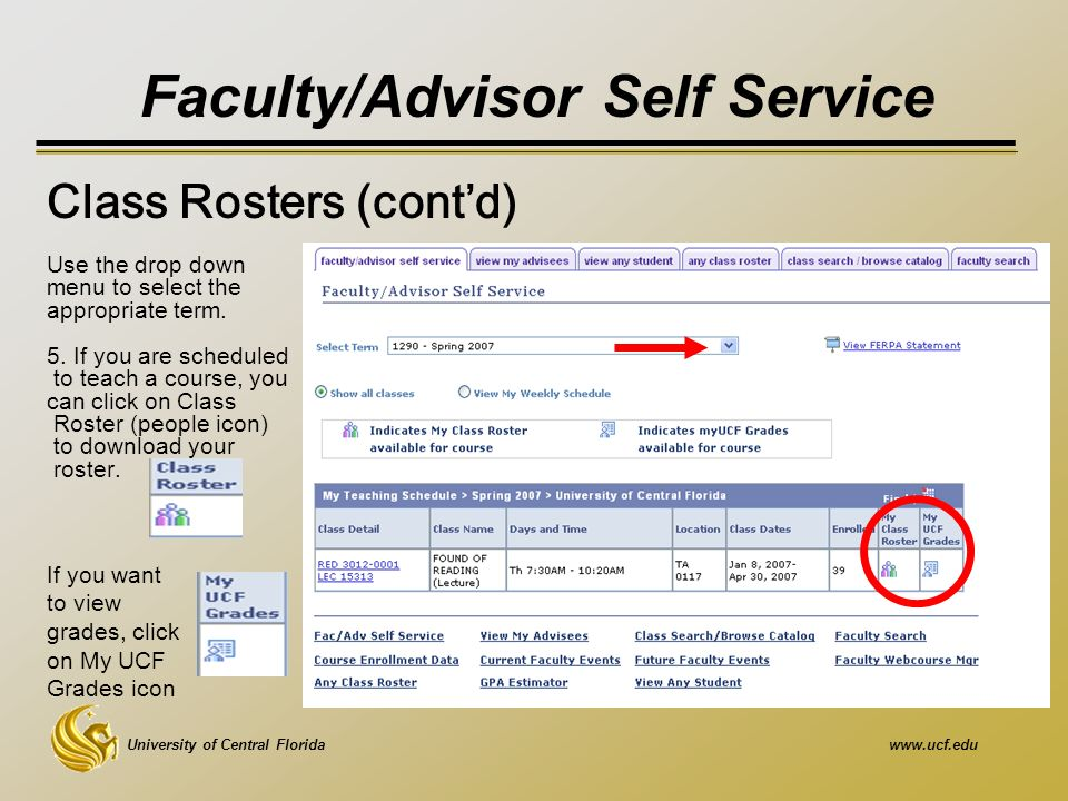 University of Central Floridawww.ucf.edu Faculty/Advisor Self Service Use the drop down menu to select the appropriate term.