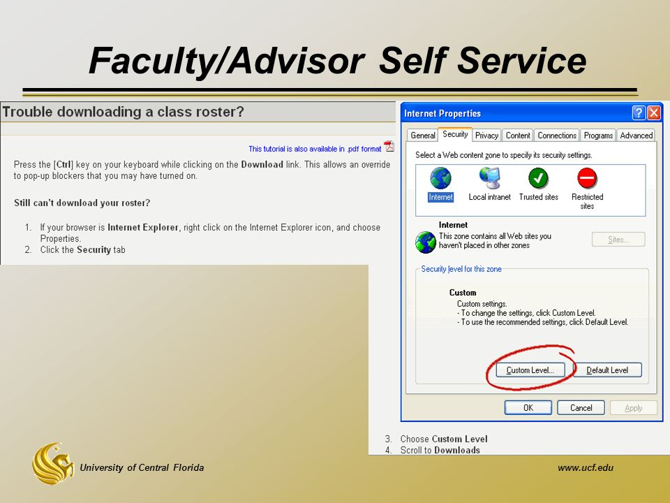 University of Central Floridawww.ucf.edu Faculty/Advisor Self Service