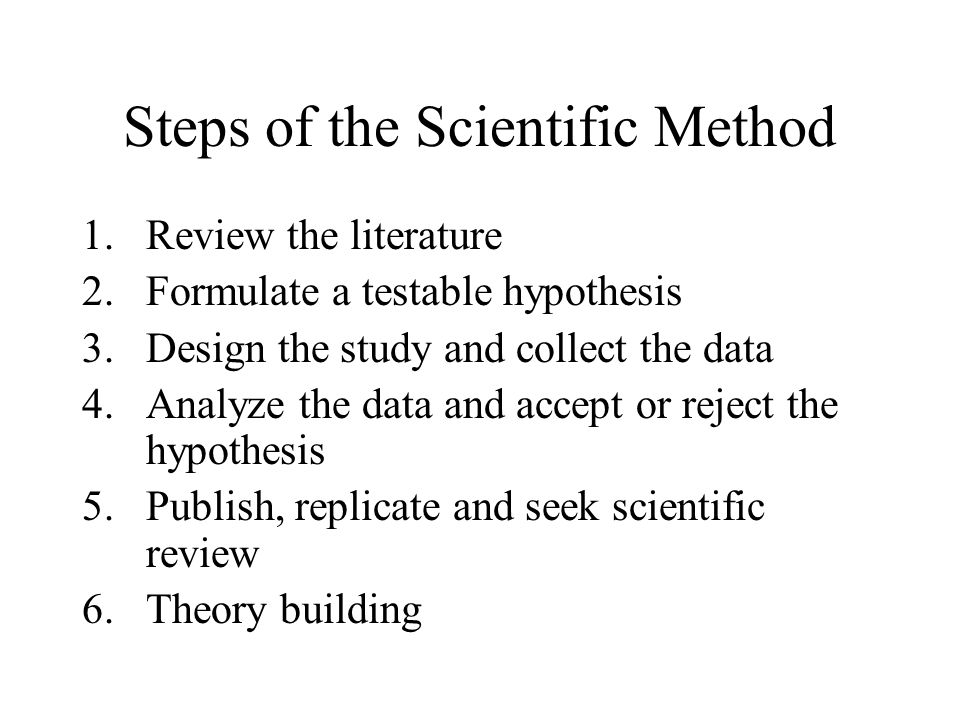 The Scientific Method Step by step process for guiding research Provides an objective, systematic framework for research Cyclical