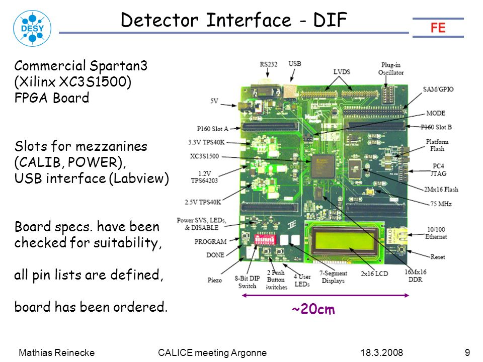 Mathias Reinecke CALICE meeting Argonne Detector Interface - DIF Commercial Spartan3 (Xilinx XC3S1500) FPGA Board Slots for mezzanines (CALIB, POWER), USB interface (Labview) Board specs.