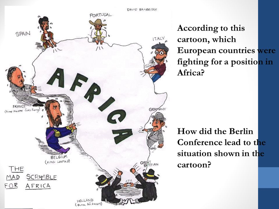According to this cartoon, which European countries were fighting for a position in Africa.